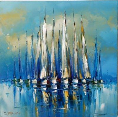 Картина маслом морской пейзаж «Яхты» купить живопись Киев Украина