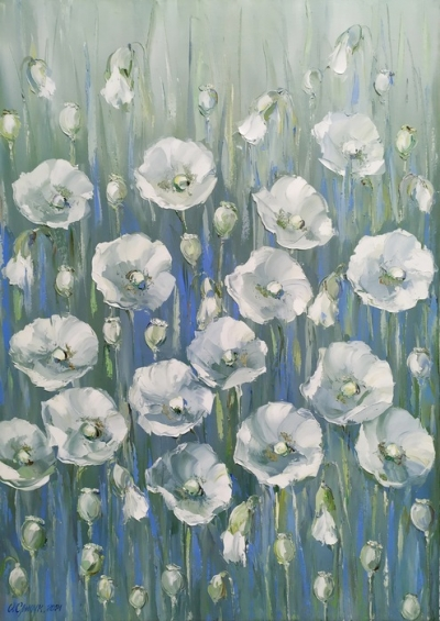 Картина маслом цветы «Белые маки» купить современную живопись Украина
