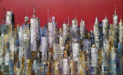 Картина маслом городской пейзаж «Манхеттен» купить живопись Киев Украина