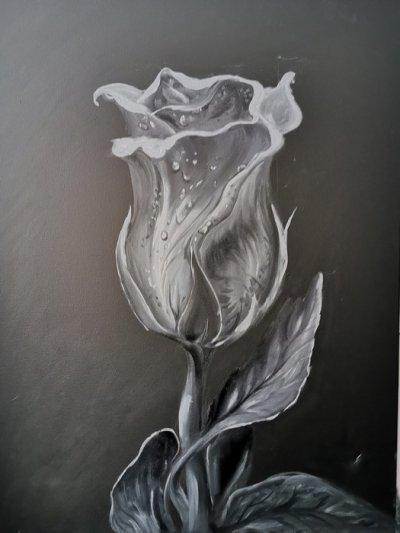 Абстрактная картина розы «Роза» купить картину маслом Киев