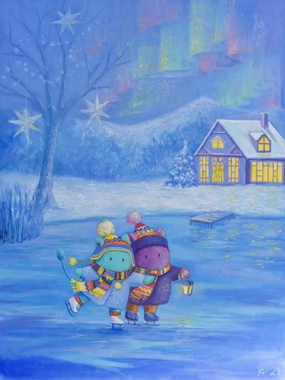 Картина детям «Пухнастики. В поисках северного сияния» купить картину маслом Киев