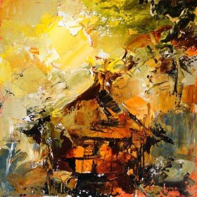Картина маслом сельский пейзаж «Избушка» купить живопись для современных интерьеров Киев
