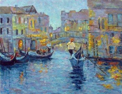 Картина маслом пейзаж «К вечеру. Венеция» купить современную живопись Украина