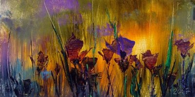 Картина маслом с цветами «Крокусы. Закат» купить живопись для современных интерьеров Киев