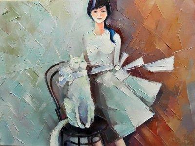 Картина маслом «Леди в белом» купить живопись для современных интерьеров Украина