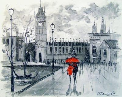 Картина городской пейзаж «Лондон» купить живопись для современных интерьеров Украина