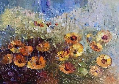 Картина маслом цветы «Магический сад» купить живопись Украина