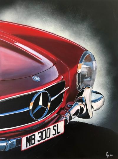 Картина акрил «Mercedes Benz 300SL» живопись для современных интерьеров Украина