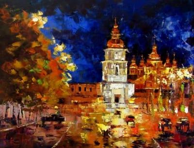 Картина маслом киевский пейзаж «Михайловский собор. Вечер» купить живопись для современных интерьеров Украина