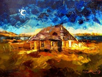 Картина маслом сельский пейзаж «Ночь такая лунная» купить живопись для современных интерьеров Украина