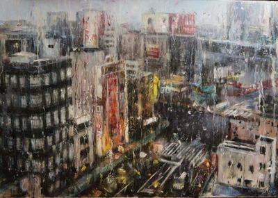 Картина пейзаж «Огни большого города» купить живопись Украина