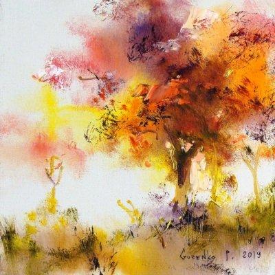 Картина маслом осенний пейзаж «Октябрь» купить живопись для современных интерьеров Киев