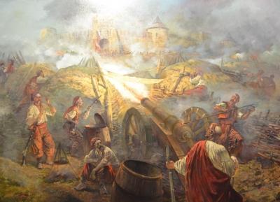 Картина маслом исторический пейзаж «Осада Жванецкого замка, осень 1653 года» купить живопись для современных интерьеров Киев
