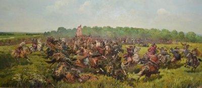 Картина маслом исторический пейзаж «Отаман Сирко. Битва в степи» купить живопись для современных интерьеров Киев