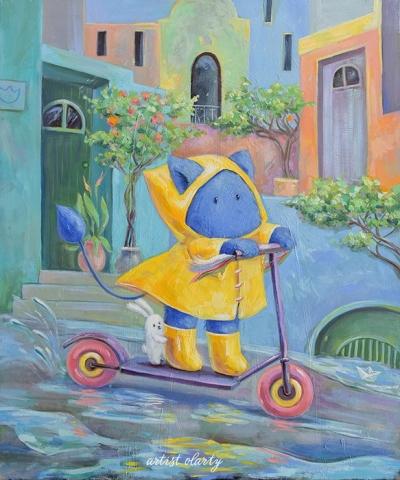 Картина детям «Пухнастик и летний дождик» купить картину маслом Киев