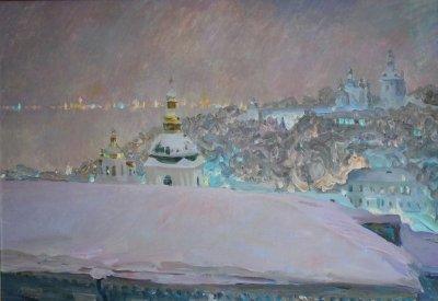 Картина маслом пейзаж «Рождественский вечер. Киев» купить живопись для современных интерьеров Украина