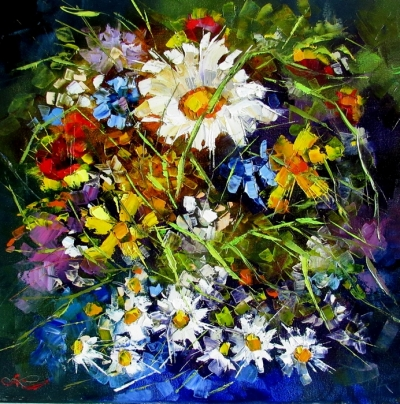 Картина маслом цветы «Ромашка» купить живопись для современных интерьеров Украина