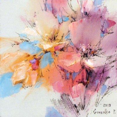 Картина маслом цветы «Розовое соцветие» купить живопись для современных интерьеров Киев