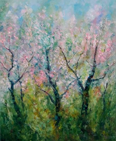Картина маслом «Цветение сакуры» купить живопись Киев