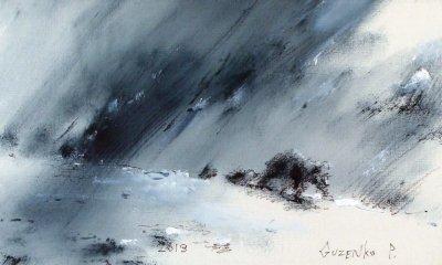 Картина маслом зимний пейзаж «Семейка» купить живопись для современных интерьеров Киев