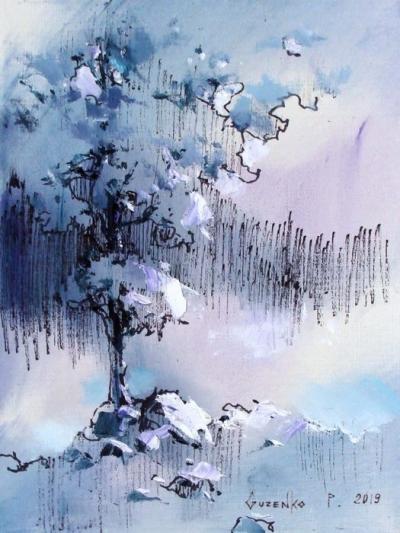Картина маслом зимний пейзаж «Север» купить живопись для современных интерьеров Киев