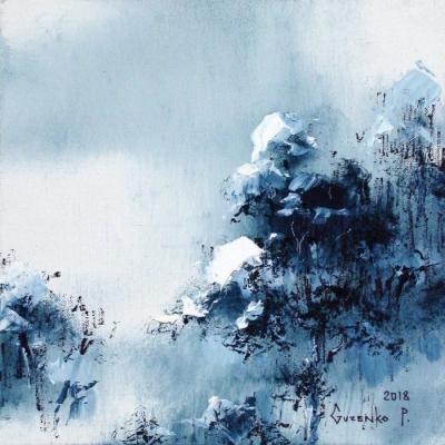 Картина маслом зимний пейзаж «Снег на соснах 2» купить живопись для современных интерьеров Киев