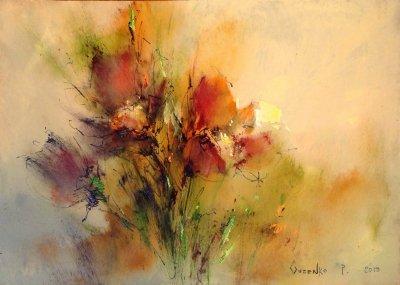 Картина маслом цветы «Сон-трава» купить живопись для современных интерьеров Киев