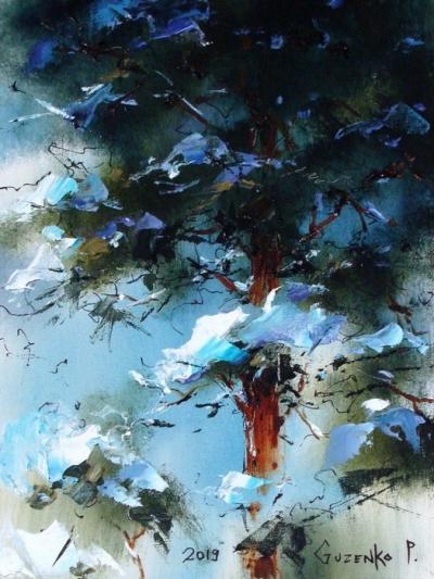 Картина маслом природа пейзаж «Тайга 2» купить живопись для современных интерьеров Киев