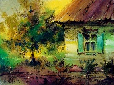 Картина маслом сельский пейзаж «Вечер в селе» купить живопись для современных интерьеров Киев