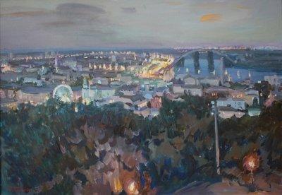 Картина маслом пейзаж «Вечерние огни Киева» купить живопись для современных интерьеров Украина