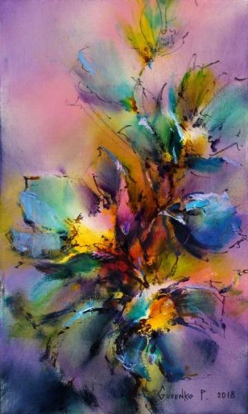 Картина маслом с цветами «Вечерний звон» купить живопись для современных интерьеров Киев