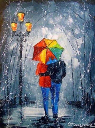 Картина маслом романтика «Яркая прогулка в парке» купить живопись для современных интерьеров Украина