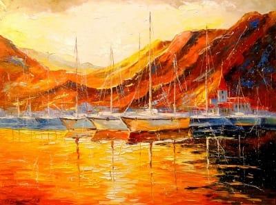Картина «Золотой закат в горах»