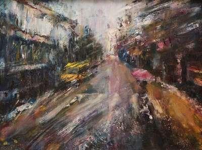 Картина «А в городе дождь» купить картину маслом Киев