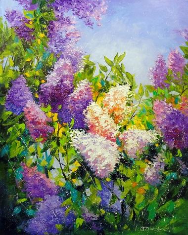 Картина с цветами «Аромат сирени» купить живопись для современных интерьеров Украина