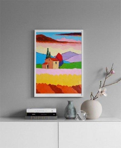 Картина маслом летний пейзаж «Атмосферная Тоскана» купить живопись для современных интерьеров Киев