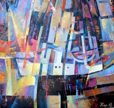 Картина маслом абстракция «Баркас» живопись для современных интерьеров Украина