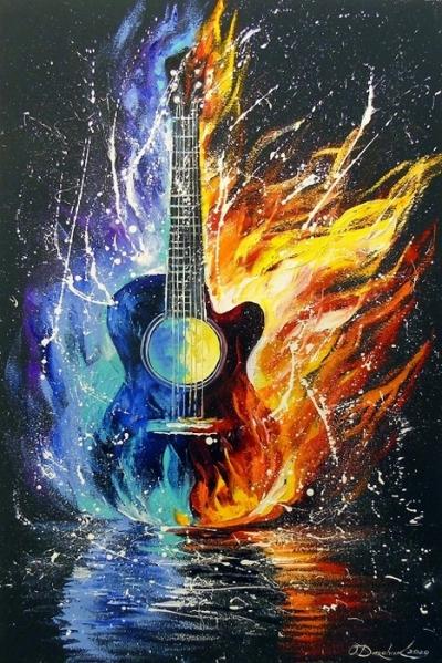 Абстрактная картина «Бас гитара» купить живопись для современных интерьеров Украина