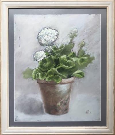 Картина цветы «Белая герань» купить живопись для современных интерьеров Украина
