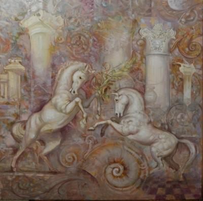 Картина маслом «Белая рапсодия» купить живопись для современных интерьеров Украина