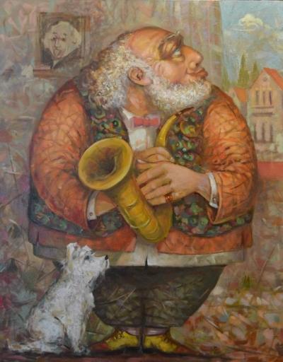 Картина маслом «Бенжамин» купить живопись для современных интерьеров Украина