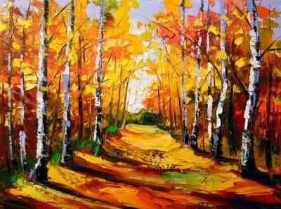 Картина маслом природа осень «Березовая роща» купить живопись для современных интерьеров Украина