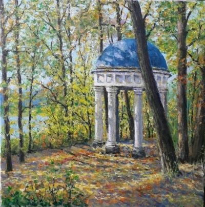 Картина маслом пейзаж «Беседка» купить современную живопись Украина