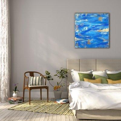 Картина абстракция для современных интерьеров «Blue Sky» купить живопись Киев
