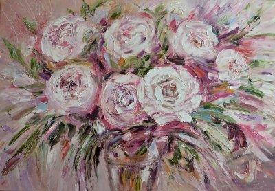 Картина маслом с цветами «Букет» купить современную живопись Киев