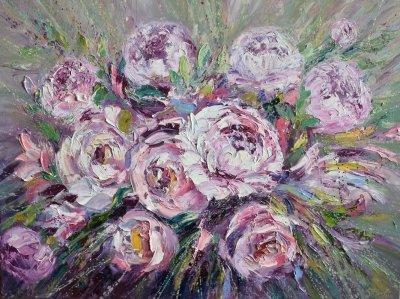 Картина маслом цветы «Букет» купить современную живопись Киев