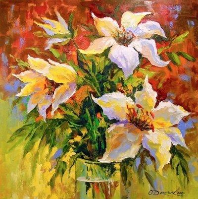 Картина с цветами «Букет лилий» купить живопись для современных интерьеров Украина