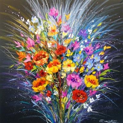 Картина с цветами «Букет цветов на счастье» купить живопись для современных интерьеров Украина