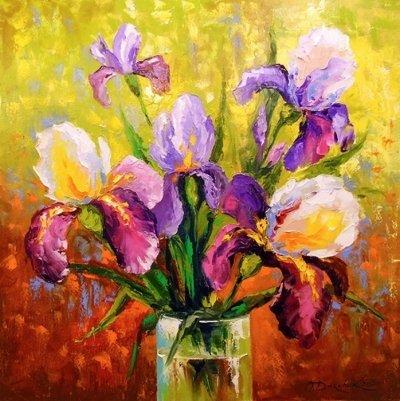 Картина с цветами «Букет ирисов» купить живопись для современных интерьеров Украина