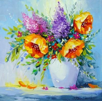 Картина с цветами «Букет желтых цветов в вазе» купить живопись для современных интерьеров Украина